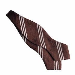 Regimental Shantung Diamond Bow Tie - Brown/White