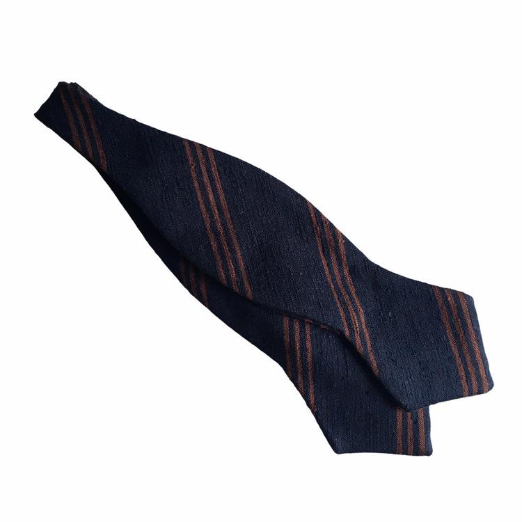 Regimental Shantung Diamond Bow Tie - Navy Blue/Brown