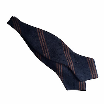Regimental Shantung Diamond Bow Tie - Navy Blue/Brown