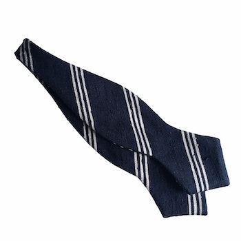 Regimental Shantung Diamond Bow Tie - Navy Blue/White