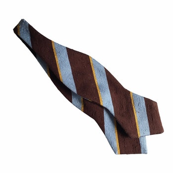 Regimental Shantung Diamond Bow Tie - Brown/Light Blue/Yellow