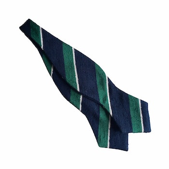 Regimental Shantung Diamond Bow Tie - Navy Blue/Green/White