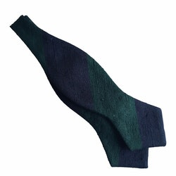 Blockstripe Shantung Diamond Bow Tie - Navy Blue/Green