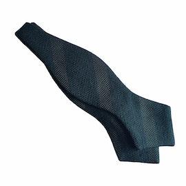 Regimental Shantung Grenadine Diamond Bow Tie - Dark Green