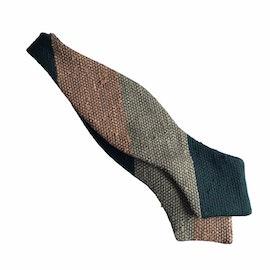 Blockstripe Shantung Grenadine Diamond Bow Tie - Dark Green/Orange/Beige