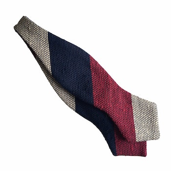 Blockstripe Shantung Grenadine Diamond Bow Tie - Navy Blue/Burgundy/Beige