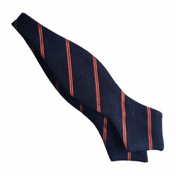 Regimental Grenadine Diamond Bow Tie - Navy Blue/Orange
