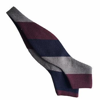 Regimental Grenadine Diamond Bow Tie - Navy Blue/Burgundy/Beige