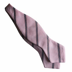 Regimental Grenadine Diamond Bow Tie - Pink/Brown/Navy Blue