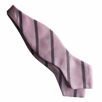 Regimental Grenadine Diamond Bow Tie - Pink/Brown/Navy Blue