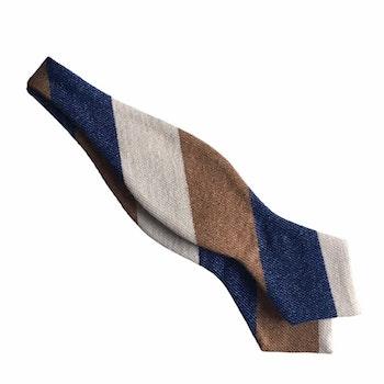 Blockstripe Cashmere Diamond Bow Tie - Navy Blue/Camel/Beige