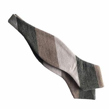 Blockstripe Cashmere Diamond Bow Tie - Olive Green/Light Brown/Beige
