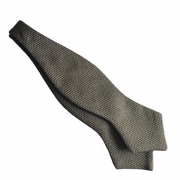 Solid Grenadine Fina Diamond Bow Tie - Olive Green