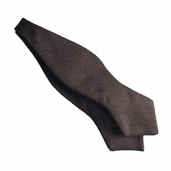 Solid Grenadine Fina Diamond Bow Tie - Brown