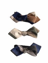 Blockstripe Cashmere Diamond Bow Tie - Navy Blue/Camel/Beige
