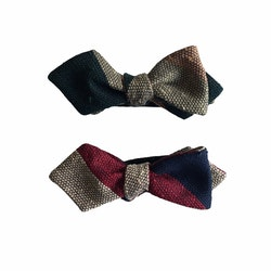 Blockstripe Shantung Grenadine Diamond Bow Tie - Dark Green/Orange/Beige