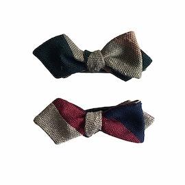 Blockstripe Shantung Grenadine Diamond Bow Tie - Navy Blue/Burgundy/Beige