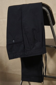 Drawstring Seersucker Trousers - High Waist - Navy Blue