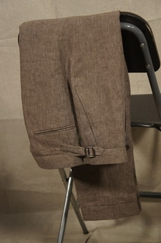 Solid Linen Trousers - High Waist - Brown