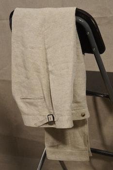 Solid Linen Trousers - High Waist - Sand Beige