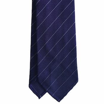 Regimental Silk Grenadine Tie - Untipped - Purple/White