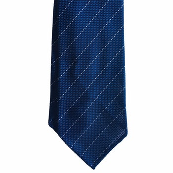 Regimental Silk Grenadine Tie - Untipped - Petrol/White