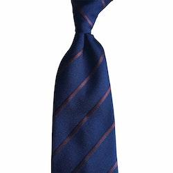 Regimental Silk Tie - Untipped - Navy Blue/Brown