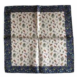 Animals Silk Pocket Square - White/Navy Blue/Green