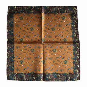 Animals Silk Pocket Square - Orange/Brown/Green