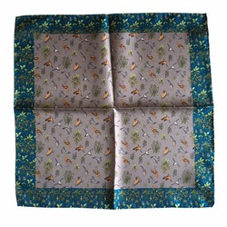 Animals Silk Pocket Square - Grey/Navy Blue/Green