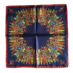 The Gathering Silk Pocket Square - Navy Blue/Green/Rust