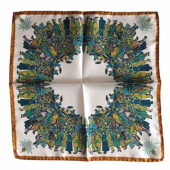 The Gathering Silk Pocket Square - White/Green/Nougat