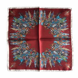 The Gathering Silk Pocket Square - Burgundy/Blue/White