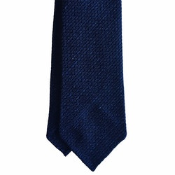 Solid Donegal Jacquard Grenadine Tie - Untipped - Navy Blue