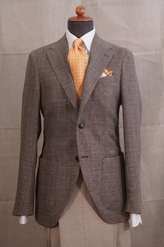 Semi Solid Wool/Linen Jacket - Unconstructed - Brown