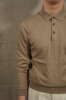 Pima Cotton Long Sleeve Polo - Beige