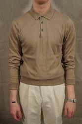 Pima Cotton Long Sleeve Polo - Beige