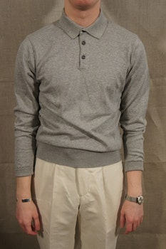 Pima Cotton Long Sleeve Polo - Light Grey