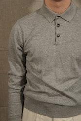 Pima Cotton Long Sleeve Polo - Light Grey