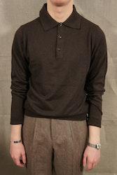 Pima Cotton Long Sleeve Polo - Brown
