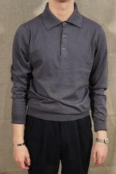 Pima Cotton Long Sleeve Polo - Steel blue