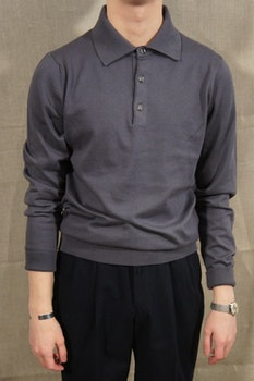 Pima Cotton Long Sleeve Polo - Dark Grey