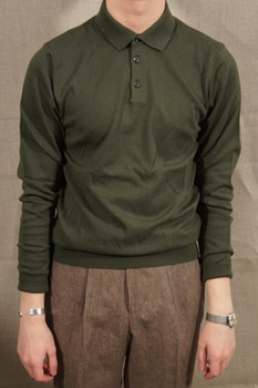Pima Cotton Long Sleeve Polo - Olive Green