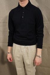Pima Cotton Long Sleeve Polo - Navy Blue