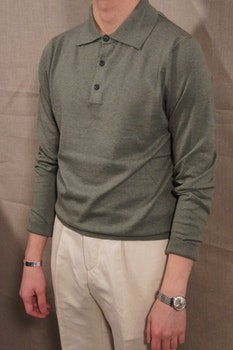 Pima Cotton Long Sleeve Polo - Light Olive Green