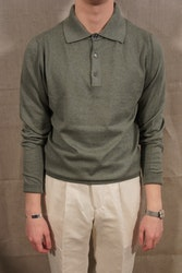 Pima Cotton Long Sleeve Polo - Light Olive Green