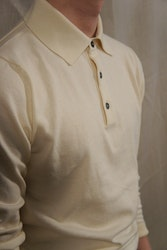 Pima Cotton Long Sleeve Polo - Creme