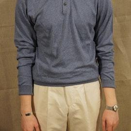 Pima Cotton Long Sleeve Polo - Light Blue
