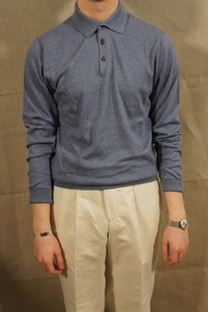 Pima Cotton Long Sleeve Polo - Light Blue