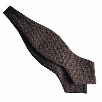 Solid Grenadine Grossa Diamond Bow Tie - Brown